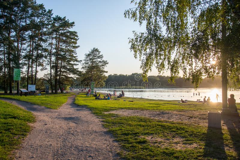 Lake during sunset in summer, Vilnius stock photos