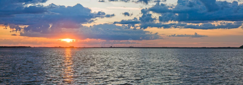Download Lake sunset view stock image. Image of horizon, catchlight - 16361615