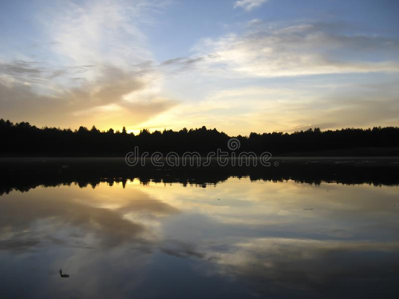 Lake and sunset views stock image