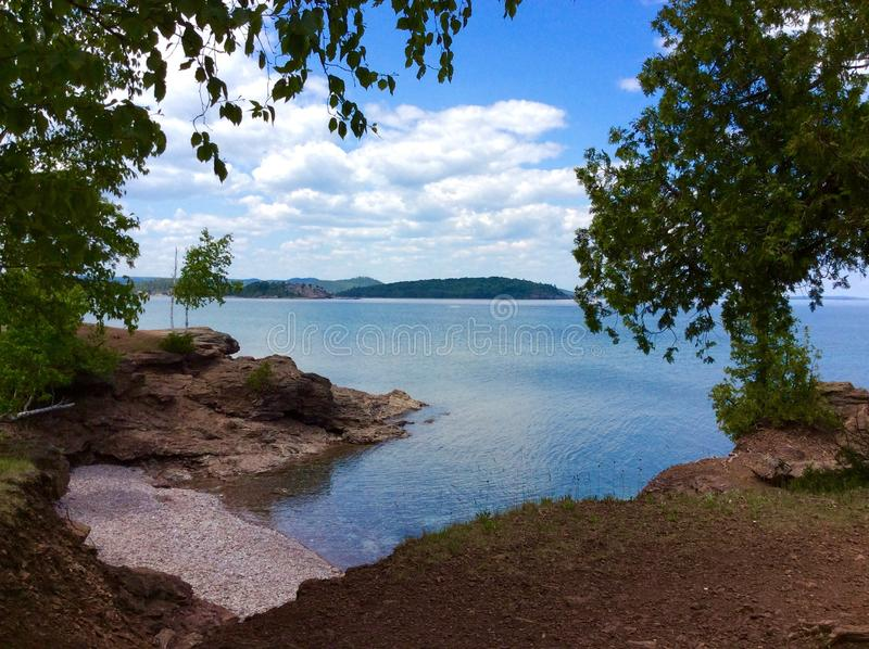 Lake Superior Coastline. A tranquil spot located in Marquette Michigan along the coast of beautiful Lake Superior royalty free stock image