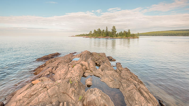 Lake Superior, Hunters Point Park, MI. Lake Superior shoreline at Hunters Point Park, Copper Harbor, Michigan royalty free stock photography