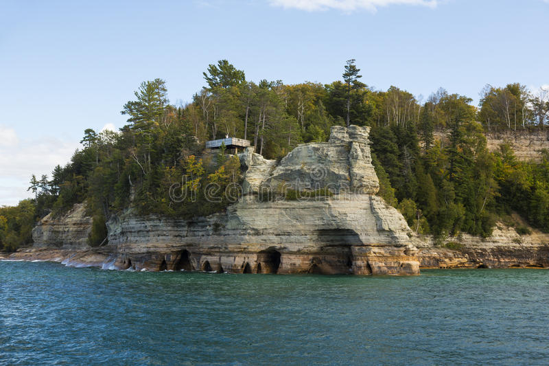 Lake Superior Miner's Castle. A rock formation on lake superior at Pictured Rocks National Lake Shore in Michigan stock images