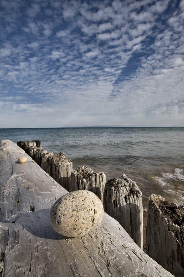 Lake Superior Northern Michigan. Fall autumn beautiful Whitefish Point stock photo
