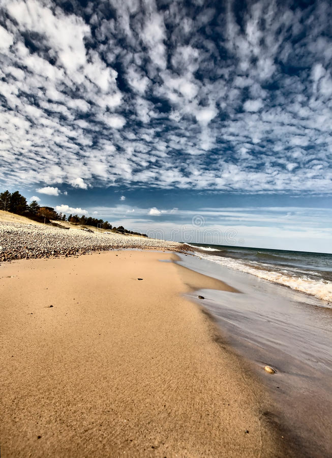 Lake Superior Northern Michigan. Fall autumn beautiful Whitefish Point stock image