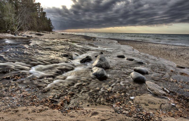 Lake Superior Northern Michigan. Fall autumn beautiful Hurricane River royalty free stock image