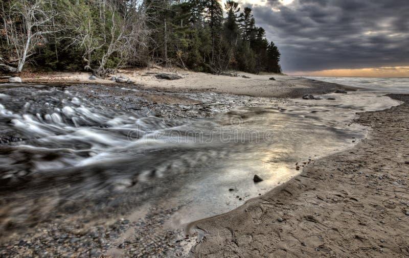 Lake Superior Northern Michigan. Fall autumn beautiful Hurricane River stock photography