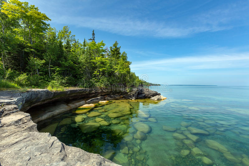 Lake Superior paradisliten vik i Audrevet Michigan arkivbilder