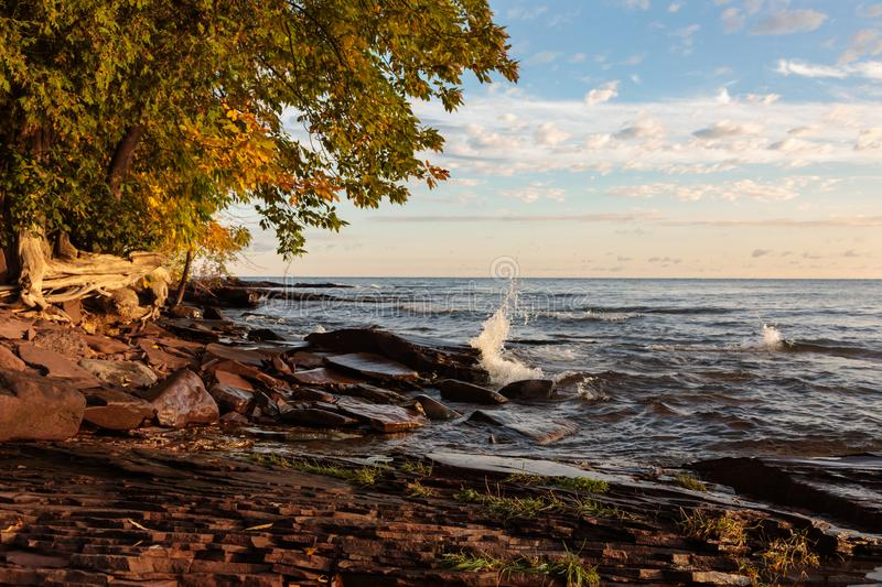 Lake Superior Rocky Shoreline in Northern Michigan, USA. Early morning sun lights up sandstone rocks and tree branches as Lake Superior waves roll up to the royalty free stock images