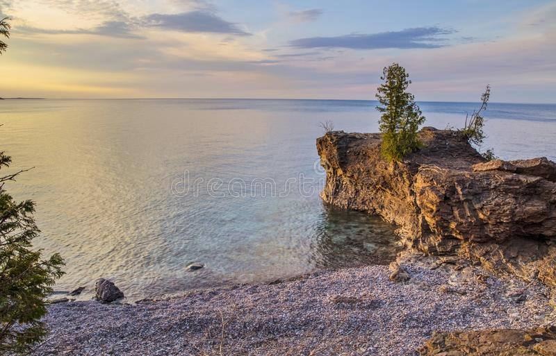 Lake Superior Shore. The rugged wild beauty of Presque Isle Park on the shores of Lake Superior in Marquette, Michigan. Lake Superior is the largest freshwater stock photos
