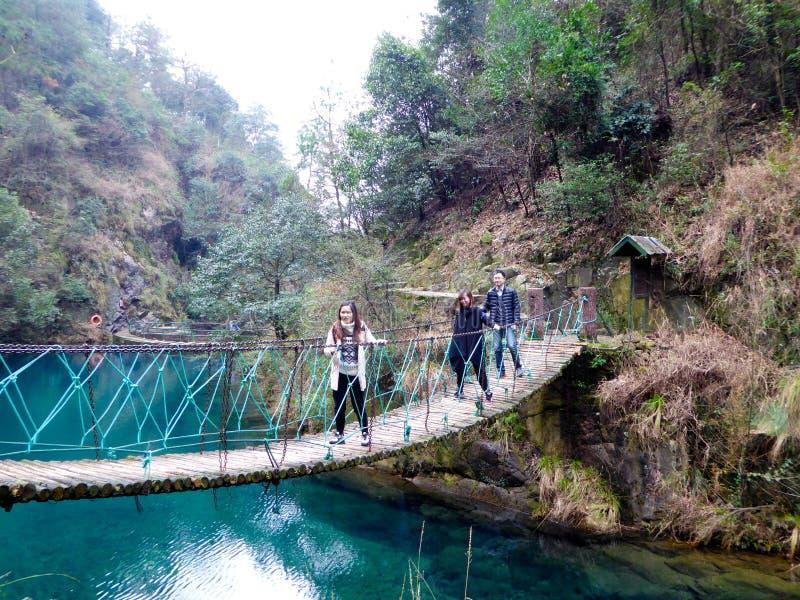 Lake and suspension bridge stock image