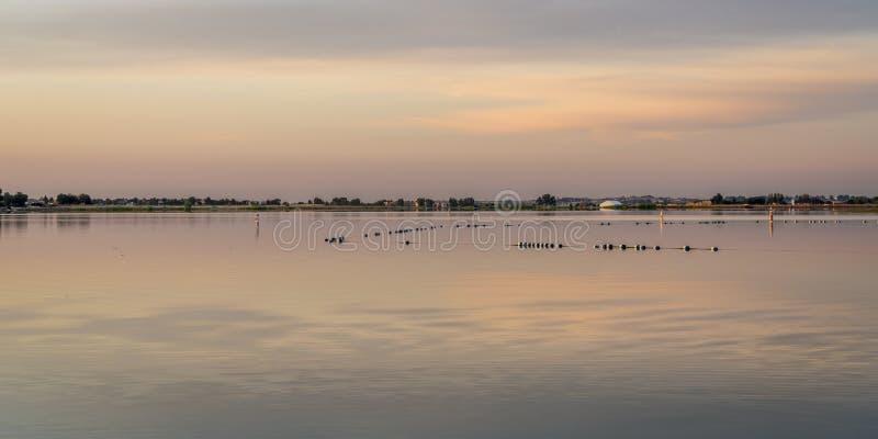 Lake swimming beach at dawn. Dawn over a swimming beach at Boyd Lake State Park, Colorado stock photography