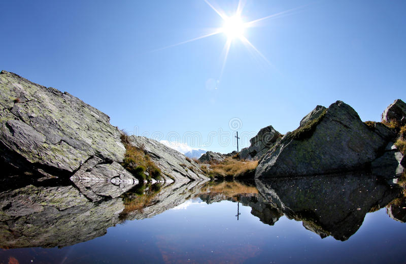 Lake in swiss mountain royalty free stock image