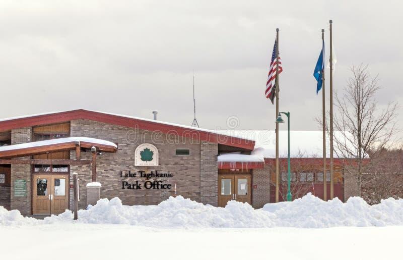 Lake Taghkanic Park Office in winter stock image