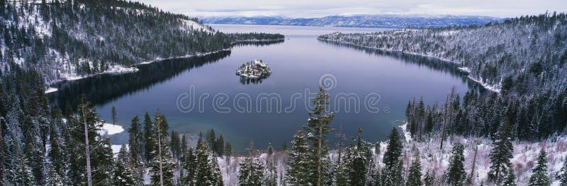 Lake Tahoe, CA en invierno fotos de archivo