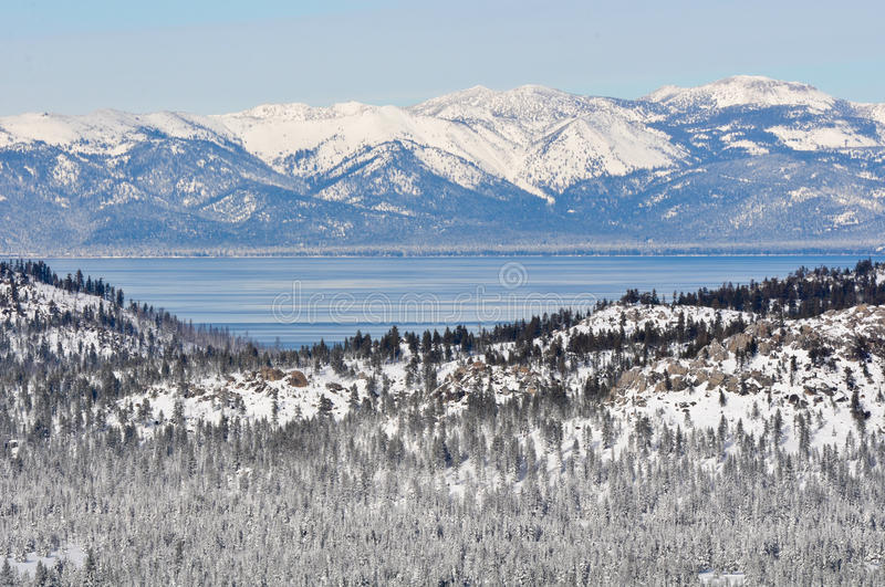 Lake Tahoe California in inverno immagine stock