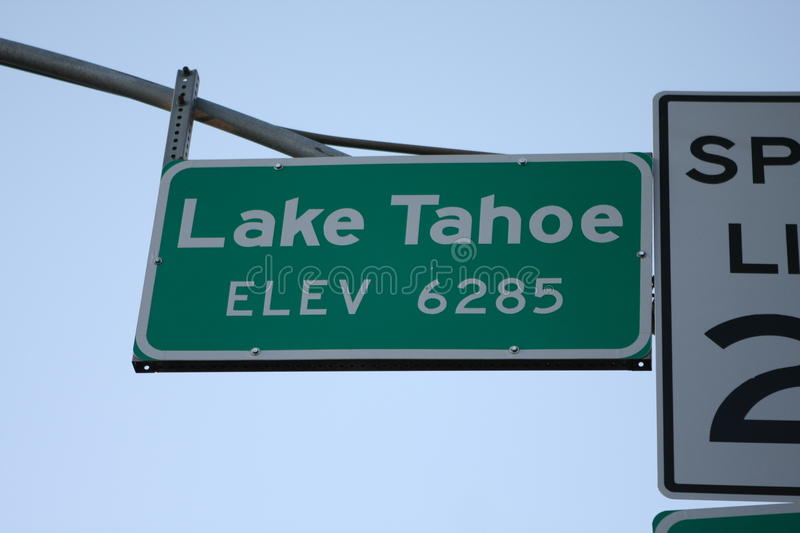 Lake Tahoe elevation sign California. Lake tahoe elevation sign taken at south shore 2011 royalty free stock photography