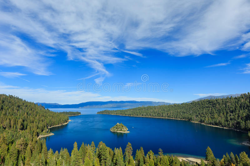 Lake Tahoe, Emerald Bay and Fannette Island. Photos Taken in Lake Tahoe Area stock photos