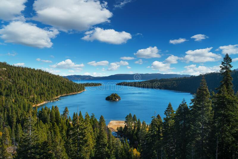 Lake Tahoe in famous California mountains - national park sierra nevada.  royalty free stock images