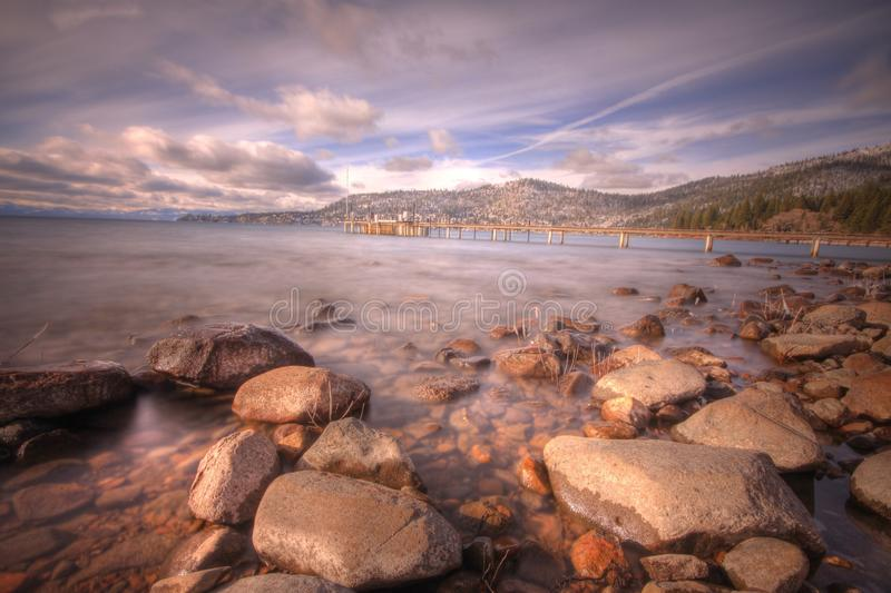 Lake Tahoe from Incline Village. Lake Tahoe Nevada, United States of America. Incline Village beach shot looking toward Crystal Bay royalty free stock photography