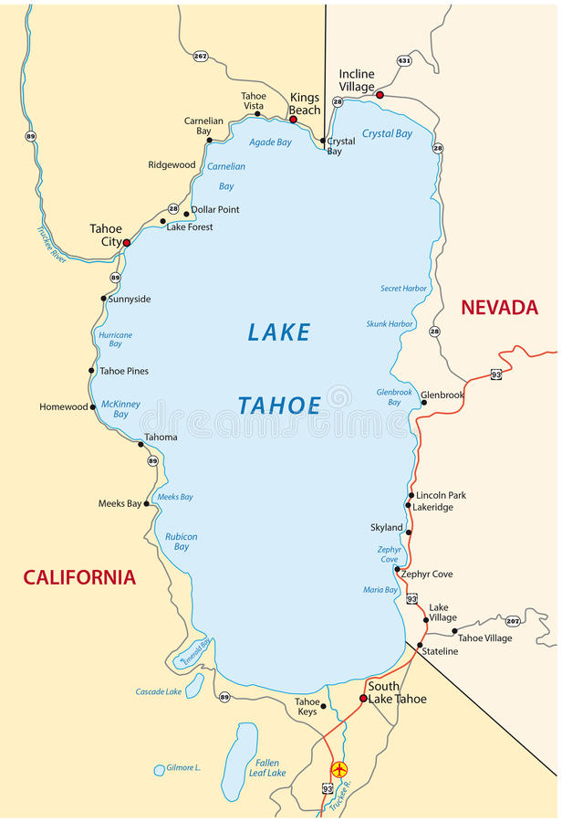 lake tahoe on a map Lake Tahoe Map Stock Illustrations 27 Lake Tahoe Map Stock lake tahoe on a map