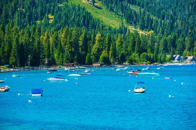 Lake Tahoe Marina royaltyfri fotografi