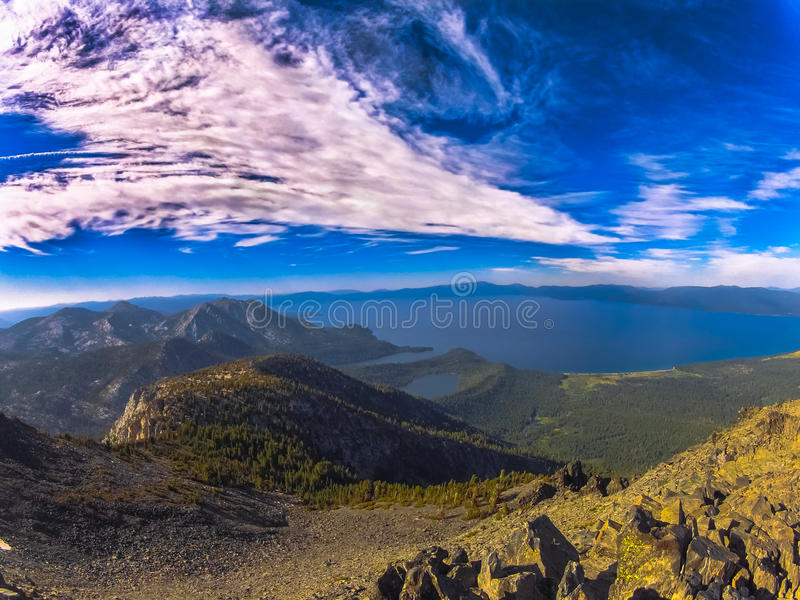 Lake Tahoe from Mt Tallac stock photo