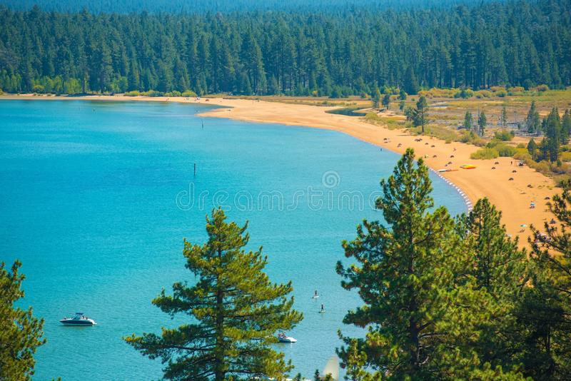 Lake Tahoe strand arkivbild