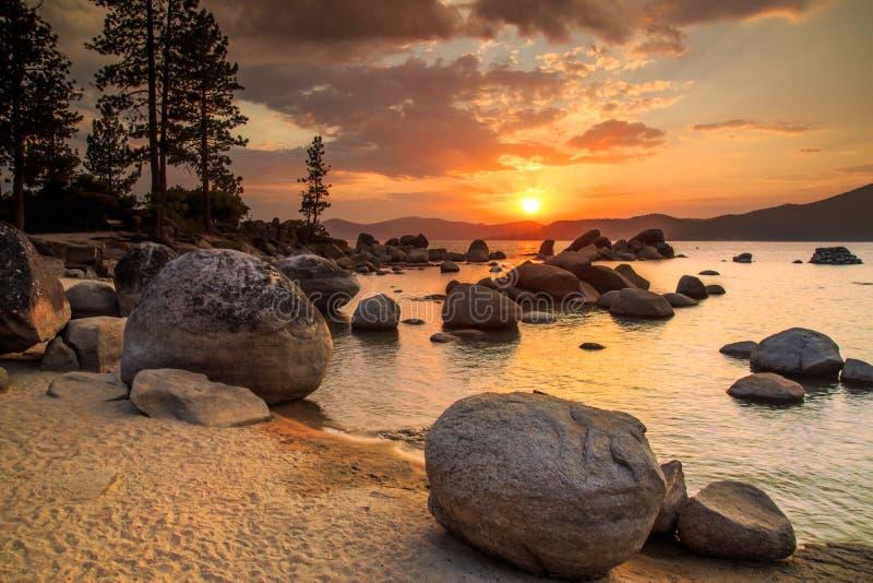 Lake Tahoe at sunset royalty free stock image