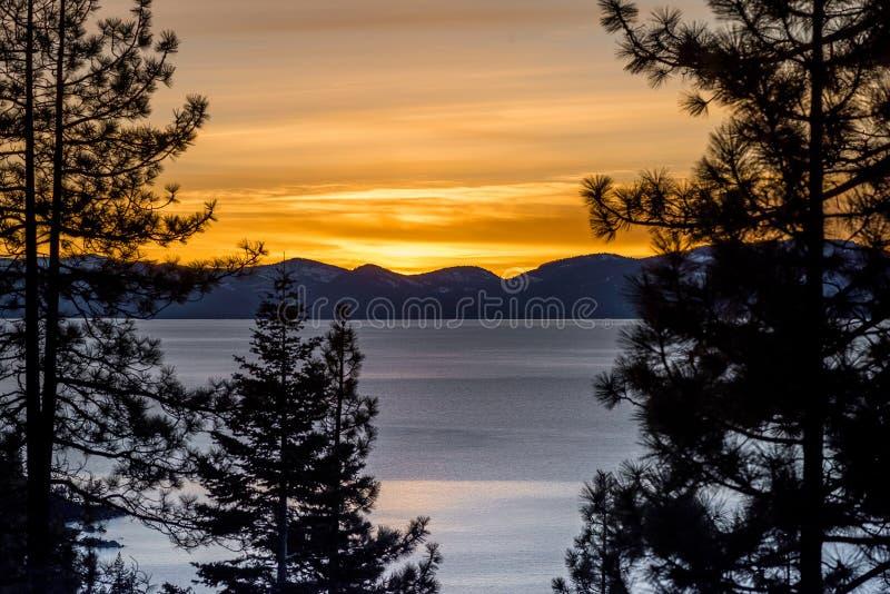 Lake Tahoe at sunset stock photo