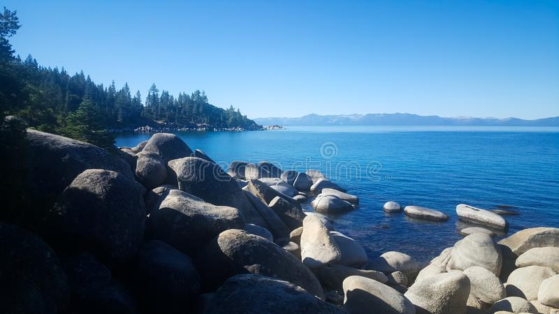 Lake Tahoe Rock shore line pine tree panorama royalty free stock photo