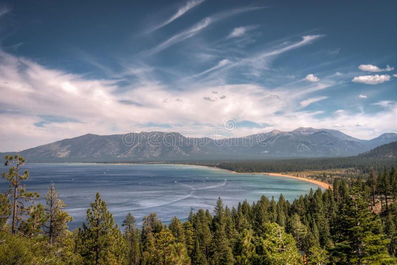 Lake Tahoe. A view of Lake Tahoe and the surrounding Sierra Nevada mountains stock images