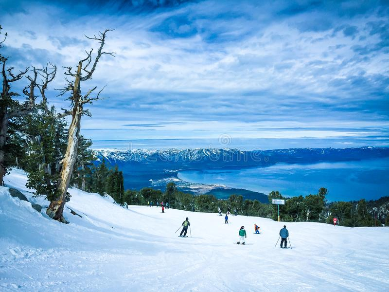 Lake Tahoe in winter stock photography