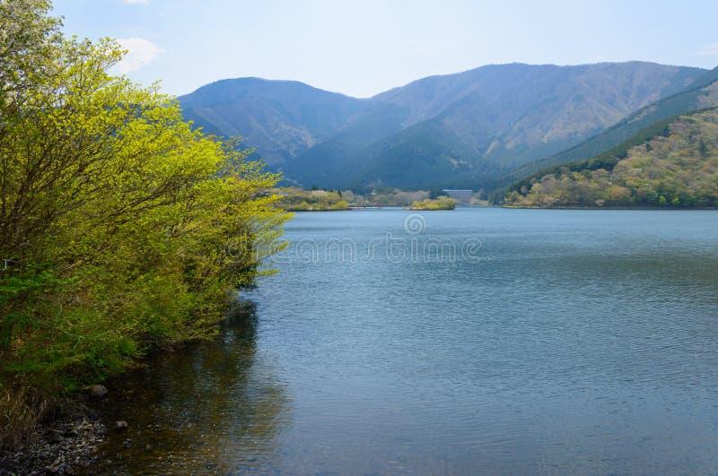 Lake Tanuki in Fujinomiya, Shizuoka, Japan. Lake Tanuki is the artificial lake in Shizuoka, located west side of Mt. Fuji. From lake Tanuki you will get a great royalty free stock photography