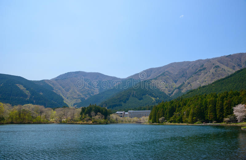 Lake Tanuki in Fujinomiya, Shizuoka, Japan. Lake Tanuki is the artificial lake in Shizuoka, located west side of Mt. Fuji. From lake Tanuki you will get a great stock images