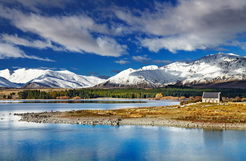 Lake Tekapo, New Zealand. Lake Tekapo and Church of the Good Shepherd, New Zealand royalty free stock photos