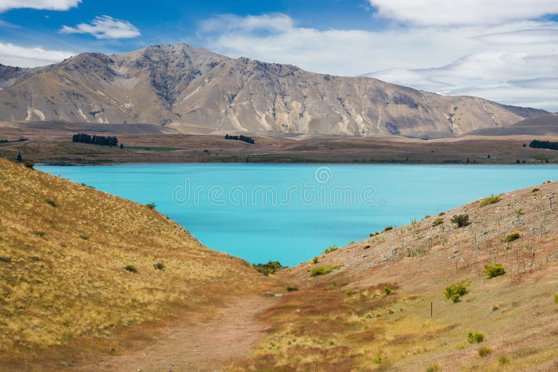 Lake Tekapo in New Zealand stock photos