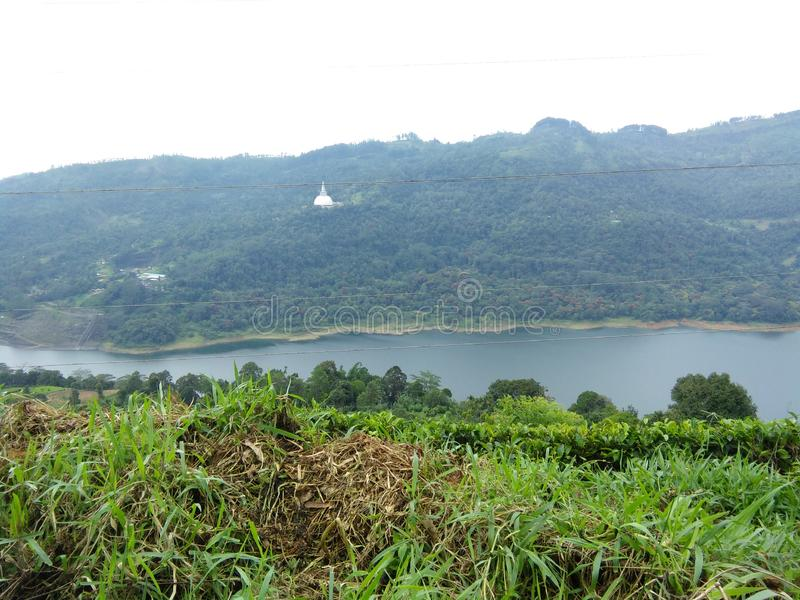 Lake with temple nuwaraeliya srilanka. Most beautiful country of the world.beauty of the nature in srilanka stock image