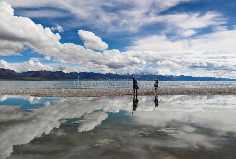 Namtso Lake in Tibet stock image