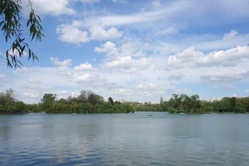 Lake in Titan park in Bucharest stock photography