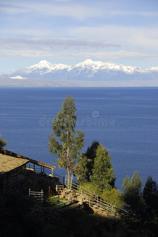 Lake Titicaca as seen from Isla del Sol stock photos