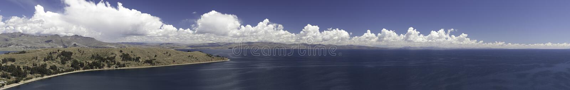 Lake titicaca between Peru and Bolivia panorama stock photo