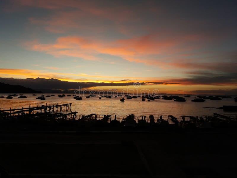 Lake titicaca pier stock photo