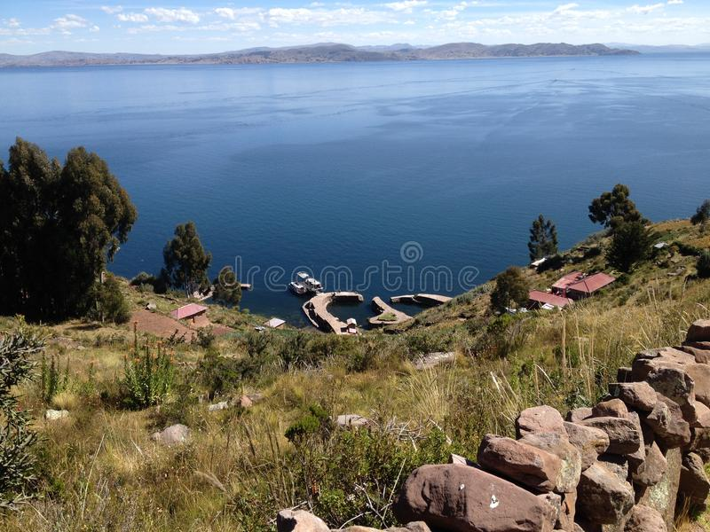 Lake Titicaca view from Taquile Island stock photography
