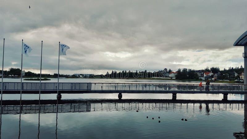 Lake Tjornin, public park in the downtown of Reykjavik, Iceland royalty free stock image