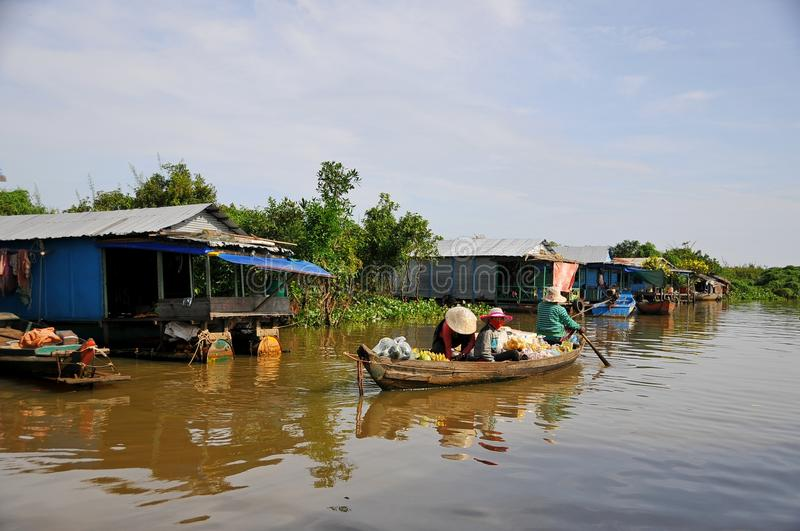 Lake Tonle Sap in Cambodia. Life on the water of Lake Tonle Sap in Cambodia stock photo
