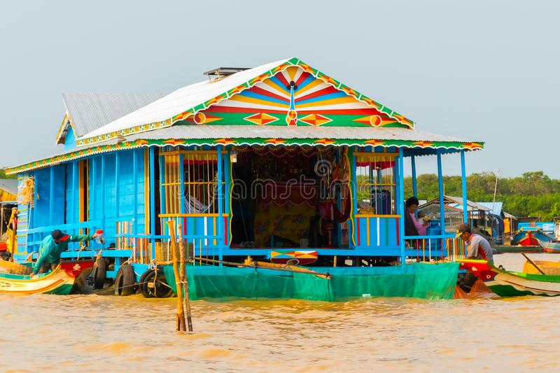 LAKE TONLE SAP, COMBODIA - Floating houses in floating Village at Tonle Sap Lake the largest freshwater lake in. Southeast Asia in Unesco stock images