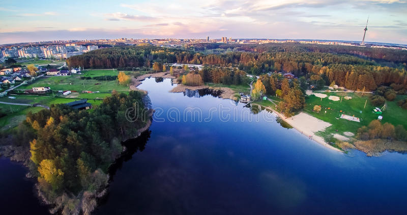 Lake and town aerial view royalty free stock photo