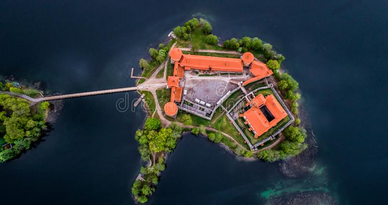 Lake in Trakai and its castle, aerial top view. Top visited Lithuanian places stock image