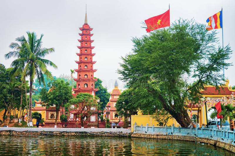 Lake at Tran Quoc Pagoda in Hanoi Vietnam. West Lake at Tran Quoc Pagoda in Hanoi, Vietnam royalty free stock image