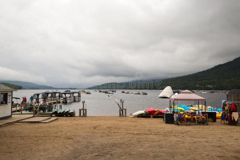 Lake Tremblant at the foot of Mont Tremblant stock images